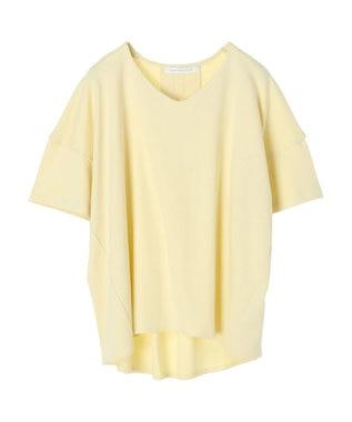 AMERICAN HOLIC Vネックバックタック半袖カットプルオーバー Yellow