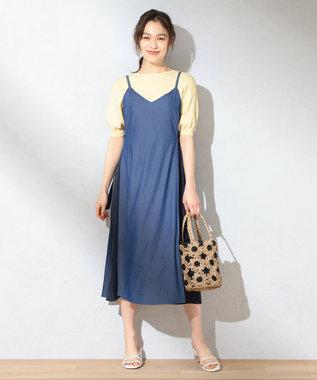 【洗える】プリーツコンビ ワンピース
