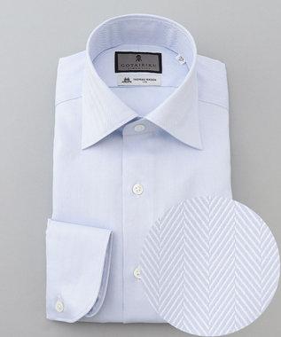【THOMAS MASON】セミワイド_サックスヘリンボーン ドレスシャツ