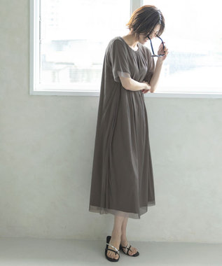 自由区 【Sサイズ有】シアー レイヤード カットソーワンピース グレージュ