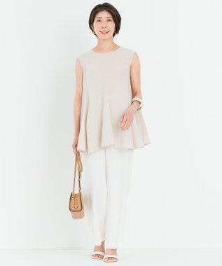 23区 【洗える】プレンウェーブ ストレッチ ワイドパンツ ホワイト系