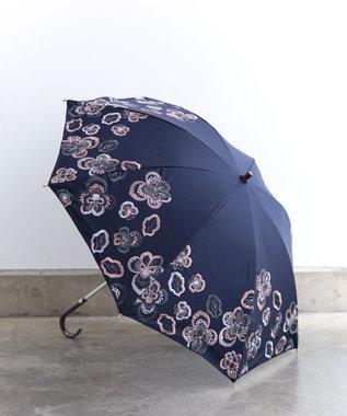 AND WOOL 【1級遮光生地】ビオラ 刺繍の晴雨兼用日傘 ネイビー