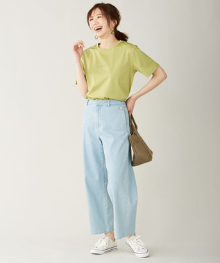 J.PRESS LADIES ミニロゴ Tシャツ ライトグリーン系