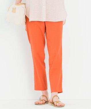 23区 L 【中村アンさん着用】リネンビスコーステーパード パンツ(番号H52) オレンジ系