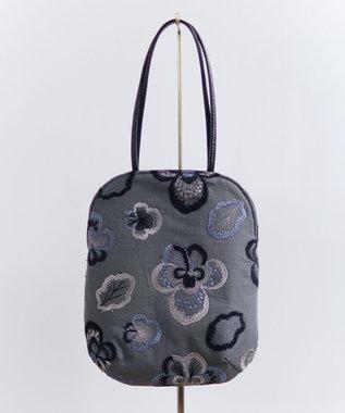 AND WOOL ビオラ刺繍のminiバッグ チャコールグレー