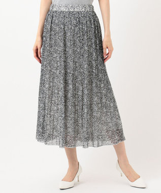 any SiS 【洗える】刺繍風ミニフラワープリント スカート モノトーン系