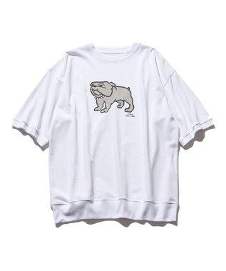 J.PRESS YORK STREET 【UNISEX】ブルドッグプリント Tシャツ ホワイト系
