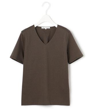 23区 【洗える】DOUBLE SMOOTH Vネック Tシャツ ダークブラウン系