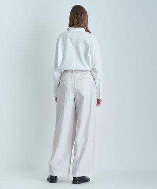 ATON LINEN WEATHER   ベルトワイドパンツ WARM WHITE