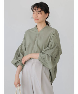 AMERICAN HOLIC 袖ギャザースキッパーシャツ Khaki