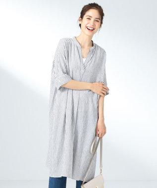 any FAM L 【定番人気】リネンブレンド ワンピース ネイビー系1