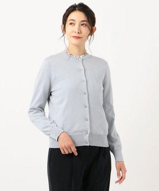 J.PRESS LADIES L 【洗える】ラインフラワープリント ツインセット サックスブルー系