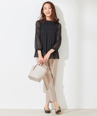 any SiS L 【美人百花5月号掲載】プリーツシフォン ブラウス ブラック系
