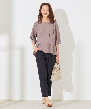 any SiS 【洗える】ハイウエストサイドバックル テーパードパンツ ネイビー