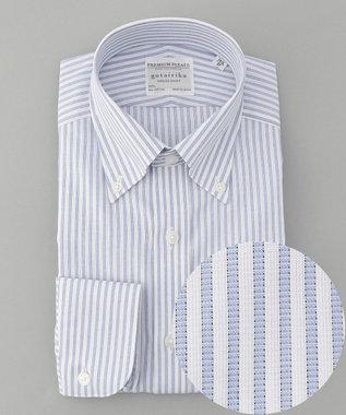 【盛夏用】SUMMER PREMIUMPLEATS_ブルーストライプ_長袖ドレスシャツ