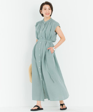 23区 【一部店舗限定】LIBECO シャツ ワンピース ライトグリーン系