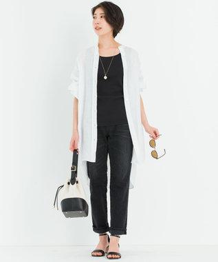 23区 L 【中村アンさん着用】LIBECO バンドカラー ビック シャツ(番号2K25) ホワイト系