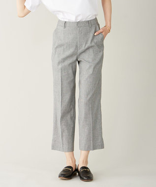 J.PRESS LADIES S 【洗える】YUNSA綿麻チェック パンツ ブラック系5