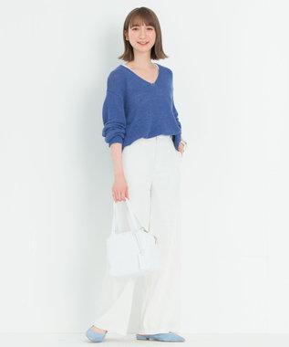 23区 【中村アンさん着用】シルクリネンリリヤーンVネックプルオーバー(番号2F43) ブルー系