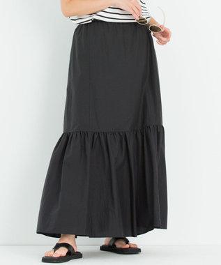 【洗える】コットンナイロン ティアード スカート