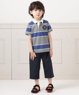 J.PRESS KIDS 【110-130cm】40/2天竺ワイドボーダー ポロシャツ グリーン系1