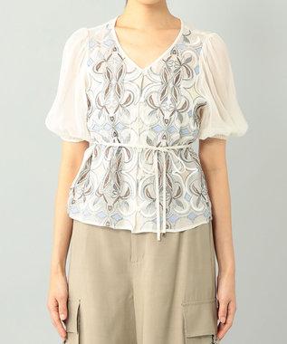 GRACE CONTINENTAL パフスリーブ刺繍ブラウス キナリ