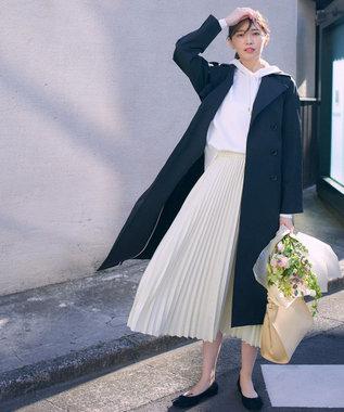組曲 【洗える】スムースラメ ニットフーディー パーカ ホワイト系