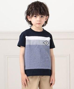J.PRESS KIDS 【140-170cm】40/2天竺ブロッキングTシャツ ネイビー系