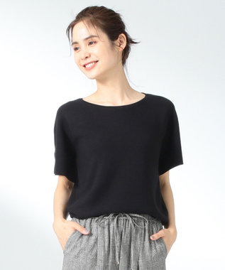 any FAM L 【洗える】ウォッシャブルガーターニットTシャツ ブラック系