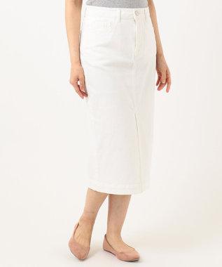 組曲 【洗える】AQUATIC DENIM デニムスカート ホワイト系