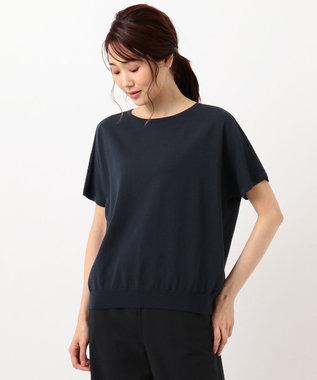 J.PRESS LADIES L 【UVカット・洗える】Functional Cotton Blend 袖レース ニット ネイビー系