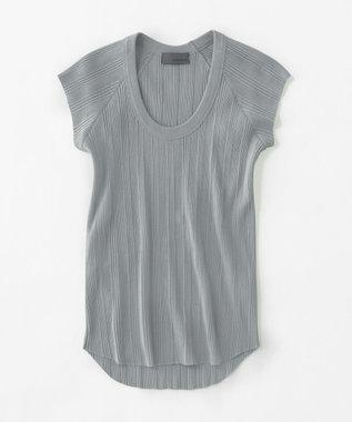 uncrave ランダムリブUネック Tシャツ ブルーグレー