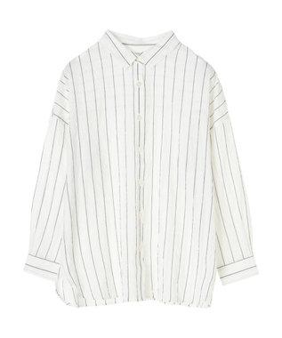 Green Parks シャーリングチェックカジュアルシャツ Stripe