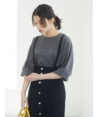 Green Parks 加工ロゴTシャツ Charcoal Gray