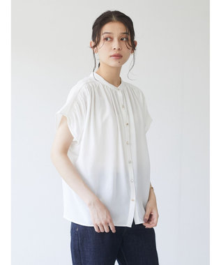 Green Parks ・ELENCARE DUE 多釦ギャザーブラウス Off White