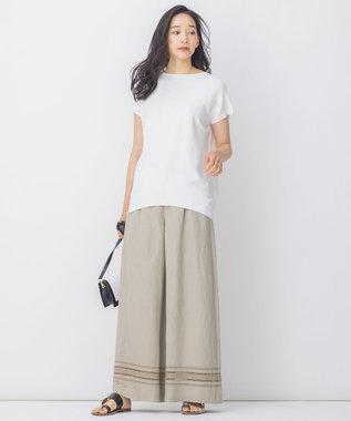 自由区 【Sサイズ有】リネン エンブロイダリー ワイドパンツ ベージュ系