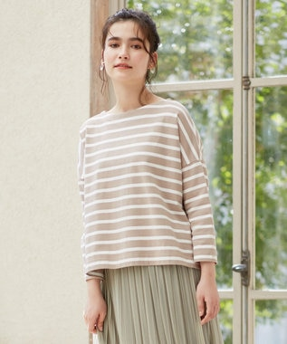 any SiS S 【L'aube】 バスクシャツ カットソー モカ×オフホワイト