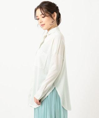組曲 【洗える】CO/NY シアーニット シャツ アイボリー系