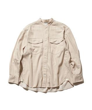 J.PRESS YORK STREET 【UNISEX】ライトツイル バンドカラーシャツ ベージュ系