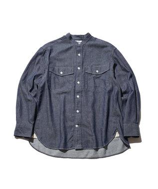 J.PRESS YORK STREET 【UNISEX】ライトツイル バンドカラーシャツ ネイビー系