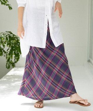 【マガジン掲載】ビスコースリネンチェック スカート(番号2C24)