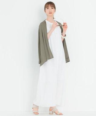 23区 【洗える】マルチファンクションショートカーディガン カーキ系