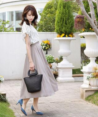 Tiaclasse 【洗える】きれい色で彩る、大人のマキシ丈フレアスカート グレージュ