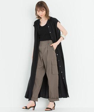 23区 【一部店舗限定】LIBECO シャツ ワンピース チャコールグレー系