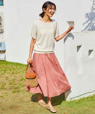 any FAM L 【洗える】ウォッシャブルガーターニットTシャツ ホワイト系