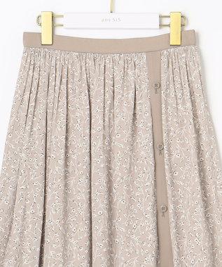 any SiS L 【2WAY】バイカラープリント スカート グレージュ系