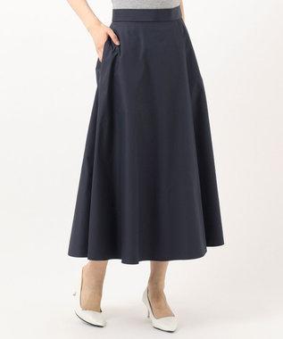 組曲 S 【洗える】タフタ フレアスカート ネイビー系
