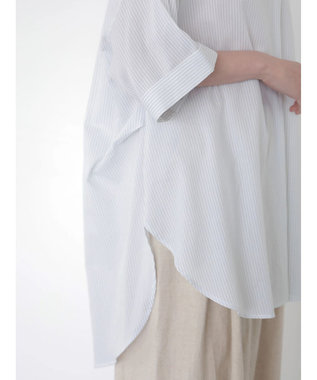 AMERICAN HOLIC スキッパー開襟BIGシャツチュニック Stripe Sax