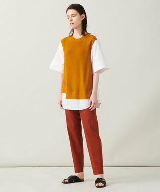 JOSEPH 【柚香 光さん着用・洗える】ニット/シャツ ラウンドネックコンビ ブラウン系
