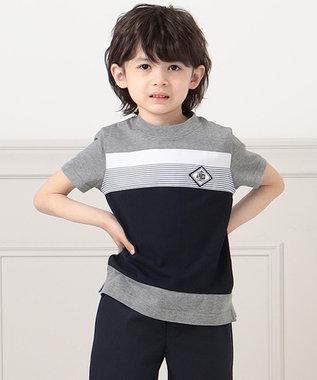 J.PRESS KIDS 【140-170cm】40/2天竺ブロッキングTシャツ グレー系